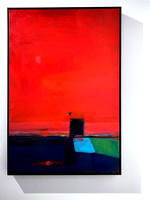 Red + Door (Untitled), 60cm x 90cm, edge frame. Sold.