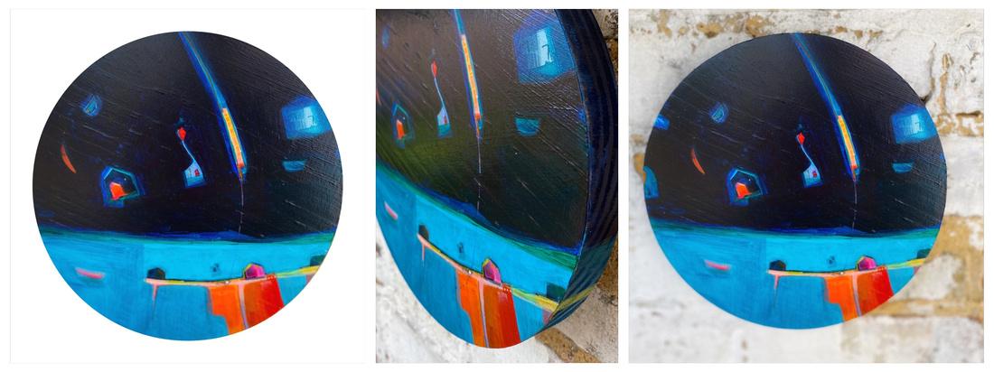 'Imbarcadero', 20cm x 2cm wood block round (sold)