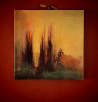 SOLD - 'Fire in the Trees' 40cm x 40cm